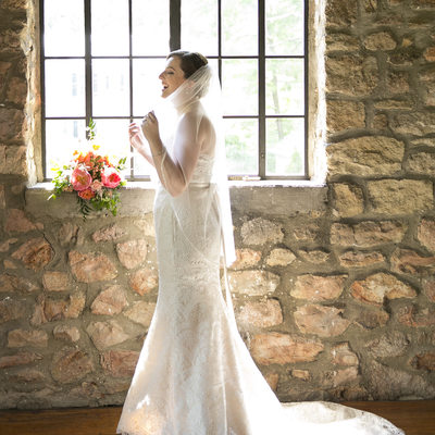 Candid Photo of Bride at Holly Hedge