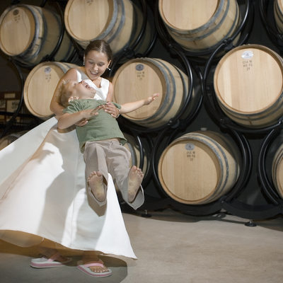 Flower girl-wine barrels