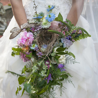 Holly Hedge Estate-bride-wild bouquet with birds nest