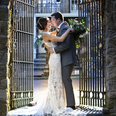 Antique Iron Gates on the Historic Holly Hedge Courtyard: The Perfect Spot for Your Wedding Portraits.