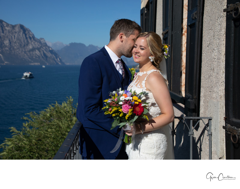 Brittney & Mark Wedding photos Malcesine Castle Balcony