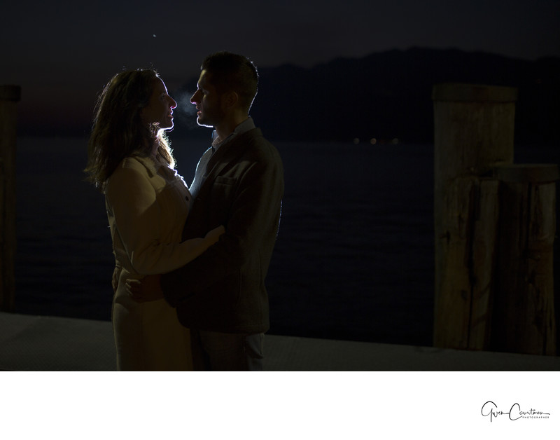 Beautiful Engagement Session at night on Lake Garda