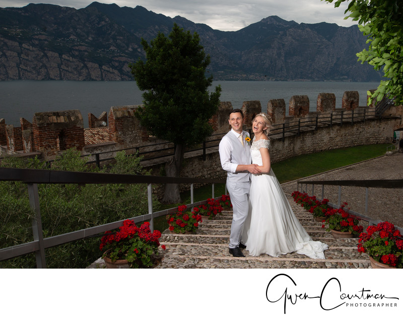 Emma and Darren, Malcesine Castle Steps Lake Garda