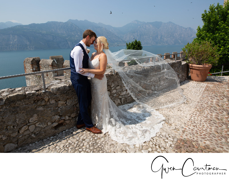 Views and Veils, Malcesine Castle Wedding, Italy.