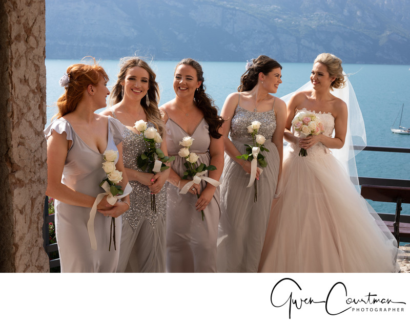 Beautiful wedding girls in Malcesine Castle