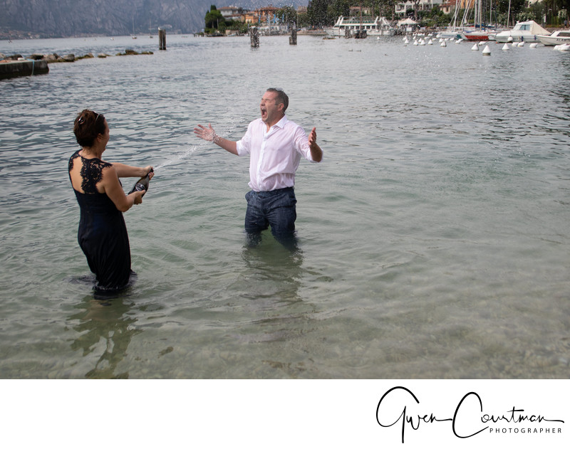 Nicky & Stephen, Malcesine Trash the Dress & champagne