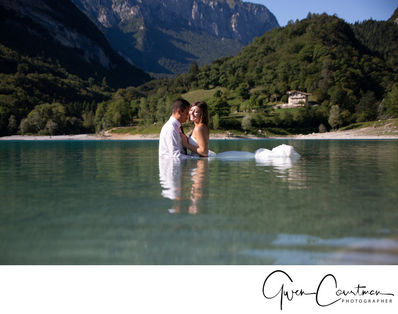 Couples Drown the Gown Session Lake Tenno, Italy