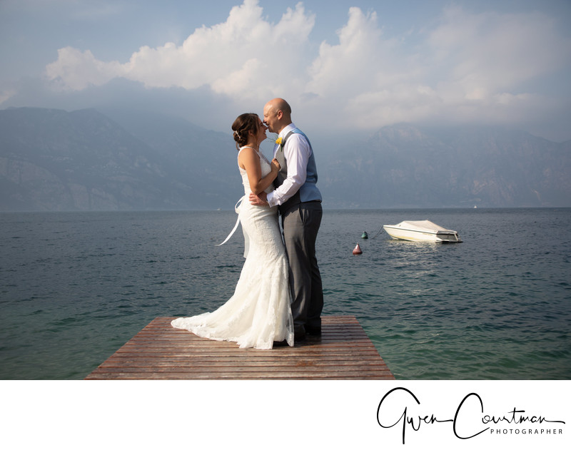German wedding in Malcesine Castle Italy on the Jetty.