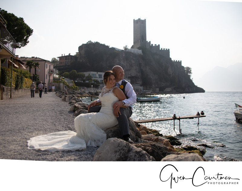 Malcesine Castle in the background, Wedding Couple.