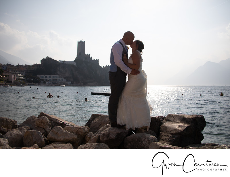Wedding Couple, Malcesine Castle in the background.
