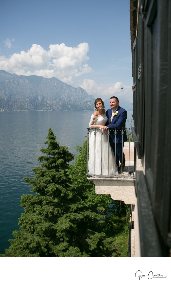 Sophie and Gareth, Balcony of Malcesine Castle, Italy