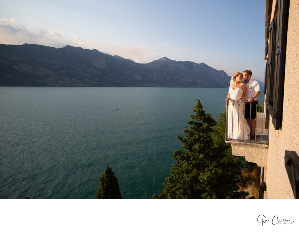 Balcony overlooking Lake Garda, resort of Malcesine