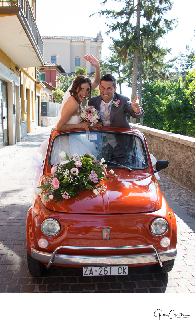 Flo and Davide, red Fiat 500, Malcesine, Lake Garda, IT