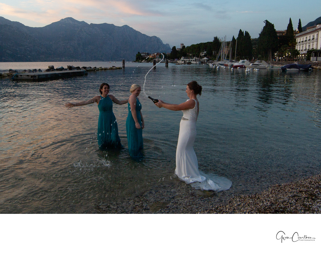 Fun with friends on the beach, Malcesine Lake Garda, IT
