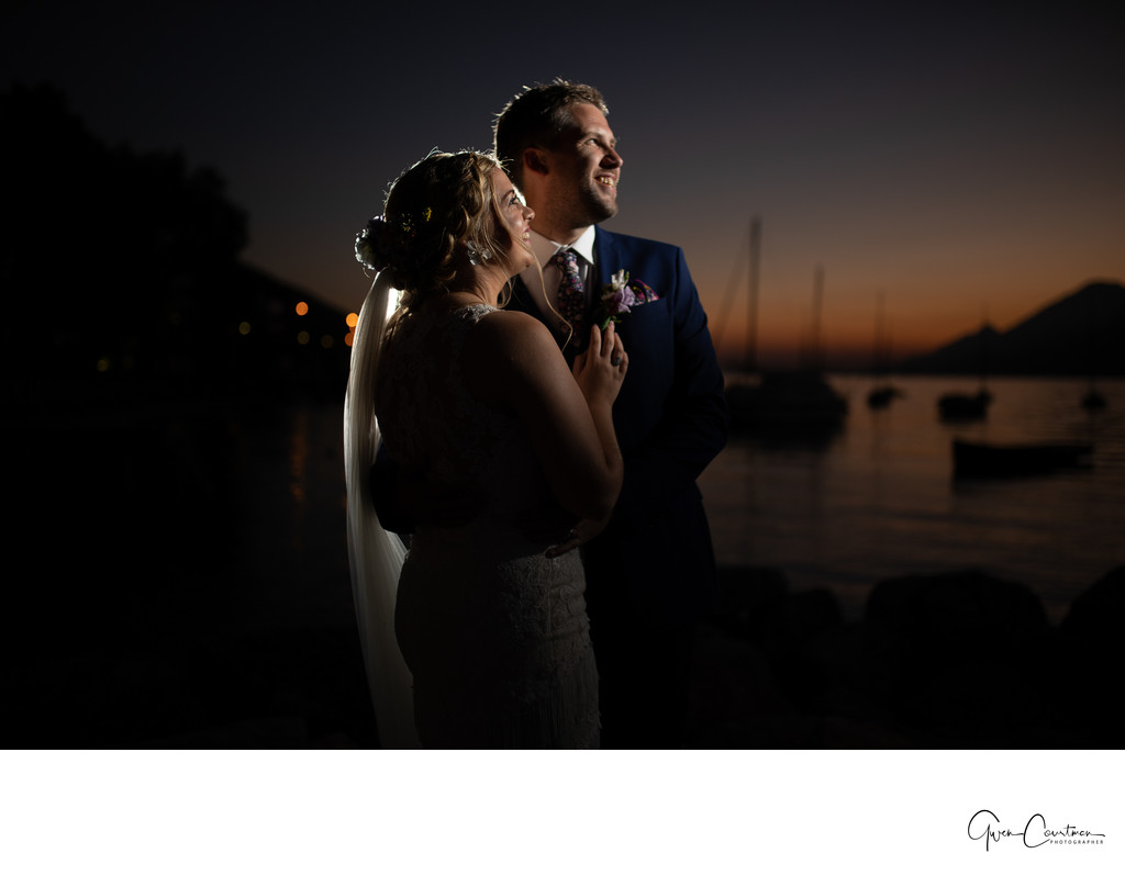 Sunset Photos Weddings on Lake Garda.