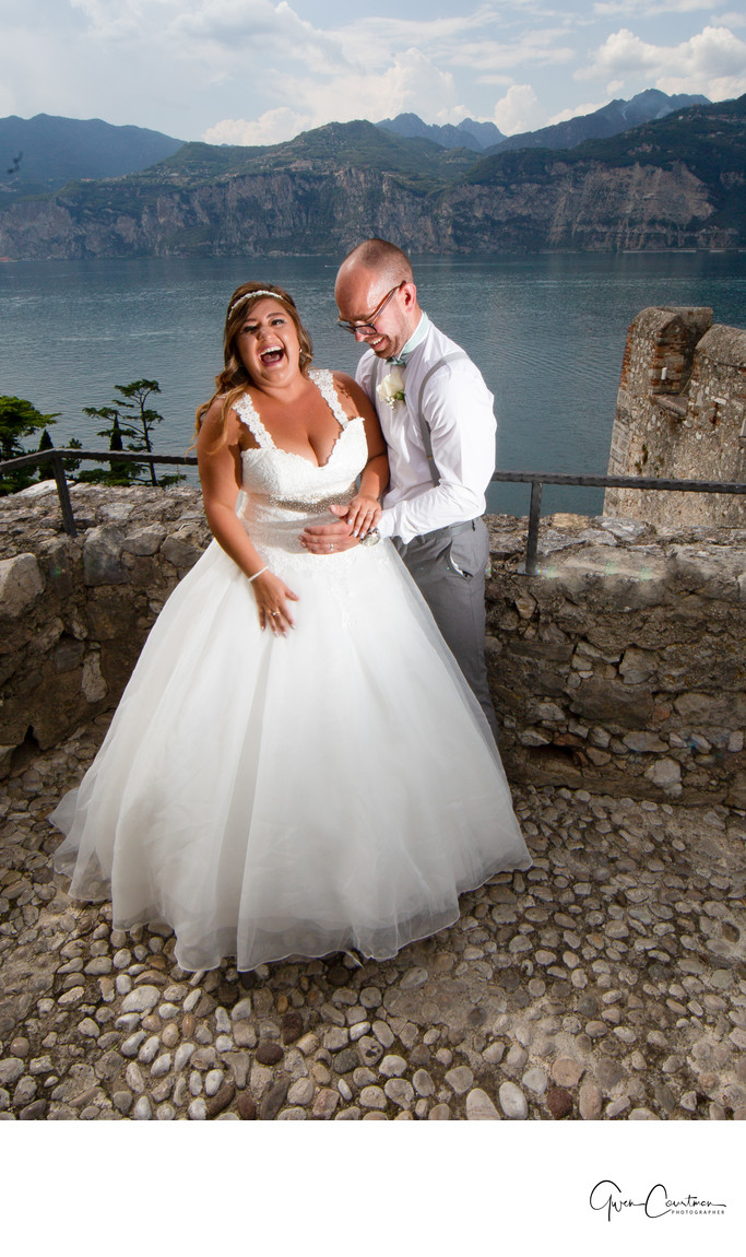 Laughing Bride in the shores of Lake Garda, Italy