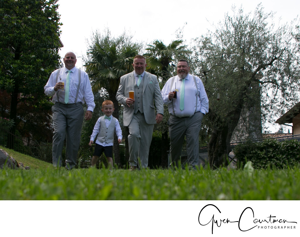 Boys and Beer, Malcesine Castle Wedding.