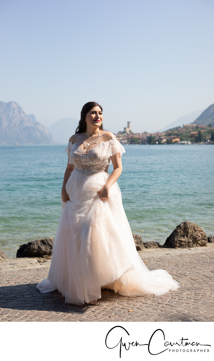 Bride by the lakeside, Malcesine , Italy.