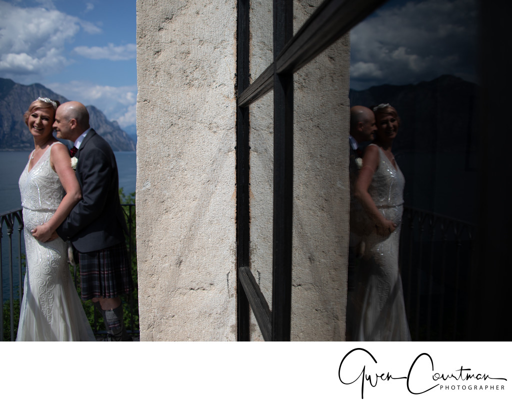 Graeme and Jo on. the balcony, Malcesine Castle, Italy