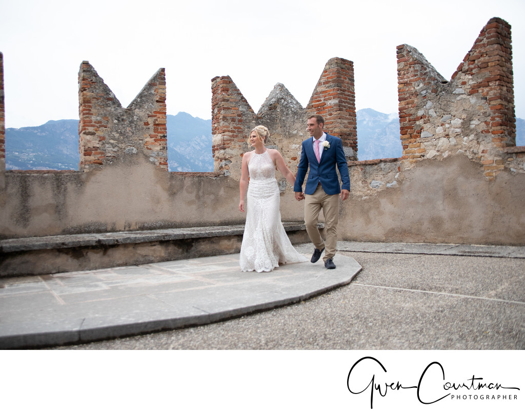 Wedding by the turrets by Lake Garda