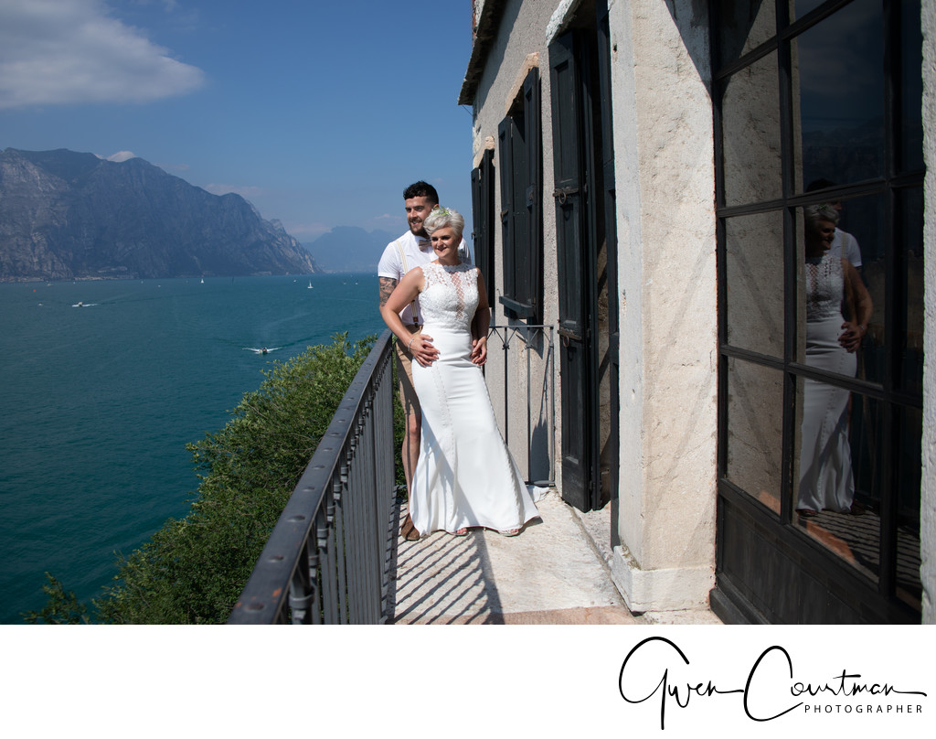 Tom and Em , Balcony in Malcesine Castle, Italy