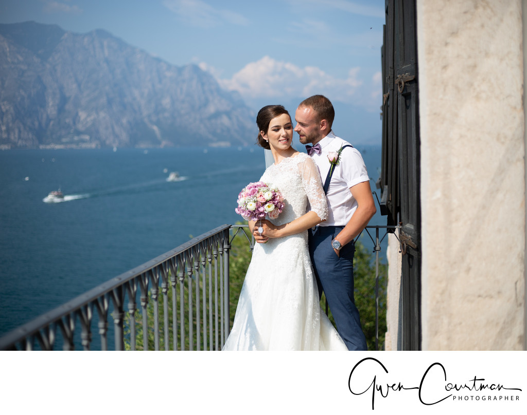 Lisa & Josh Wedding  Malcesine  Balcony Castle