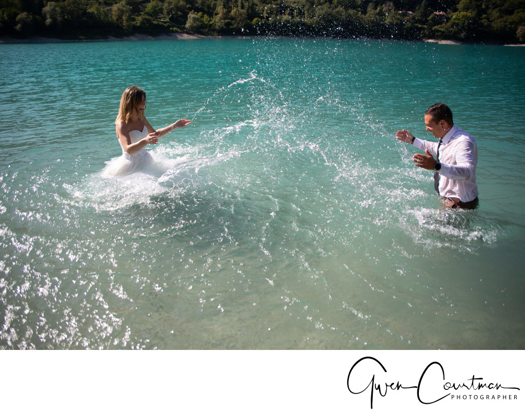 Romance and splashing in the water, Italy Lake Tenno