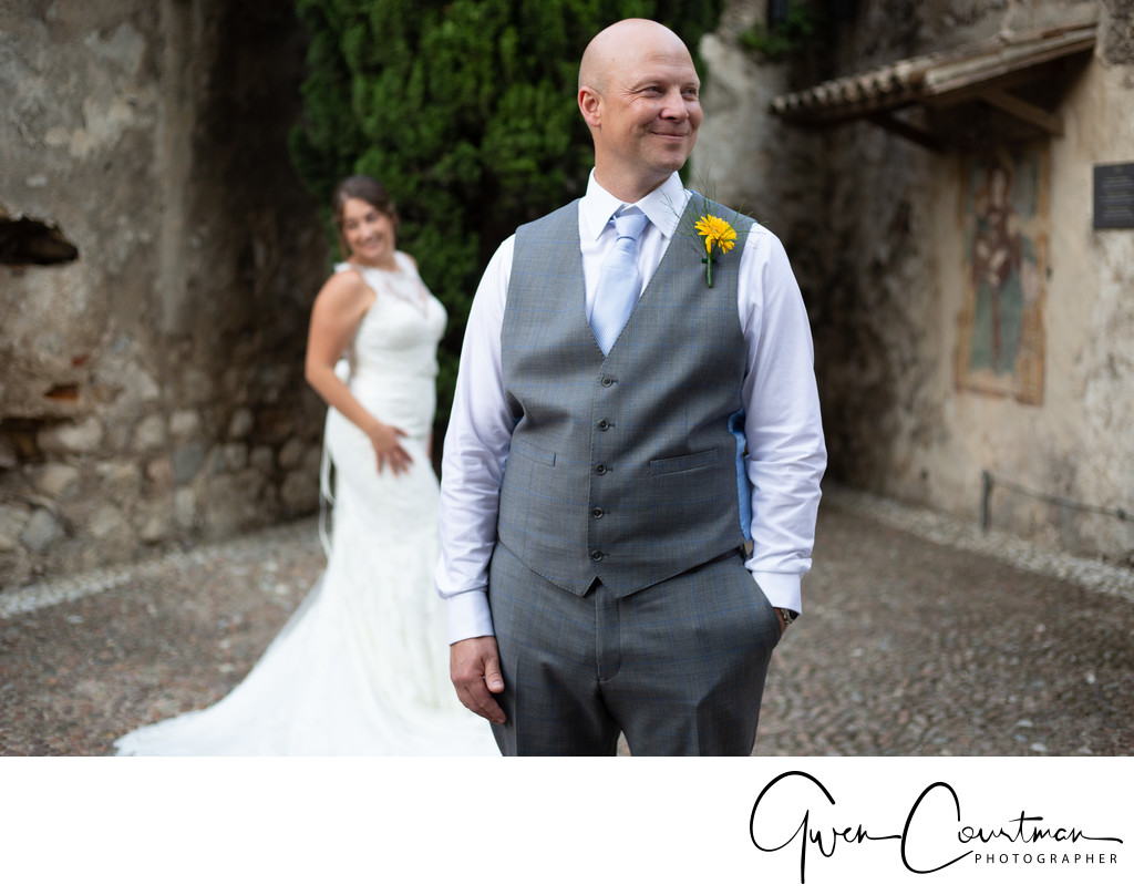 Wedding moments in Malcesine Castle Grounds.