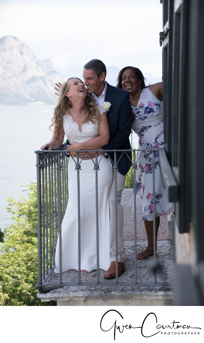 Malcesine Castle Balcony to the lake, Wedding.