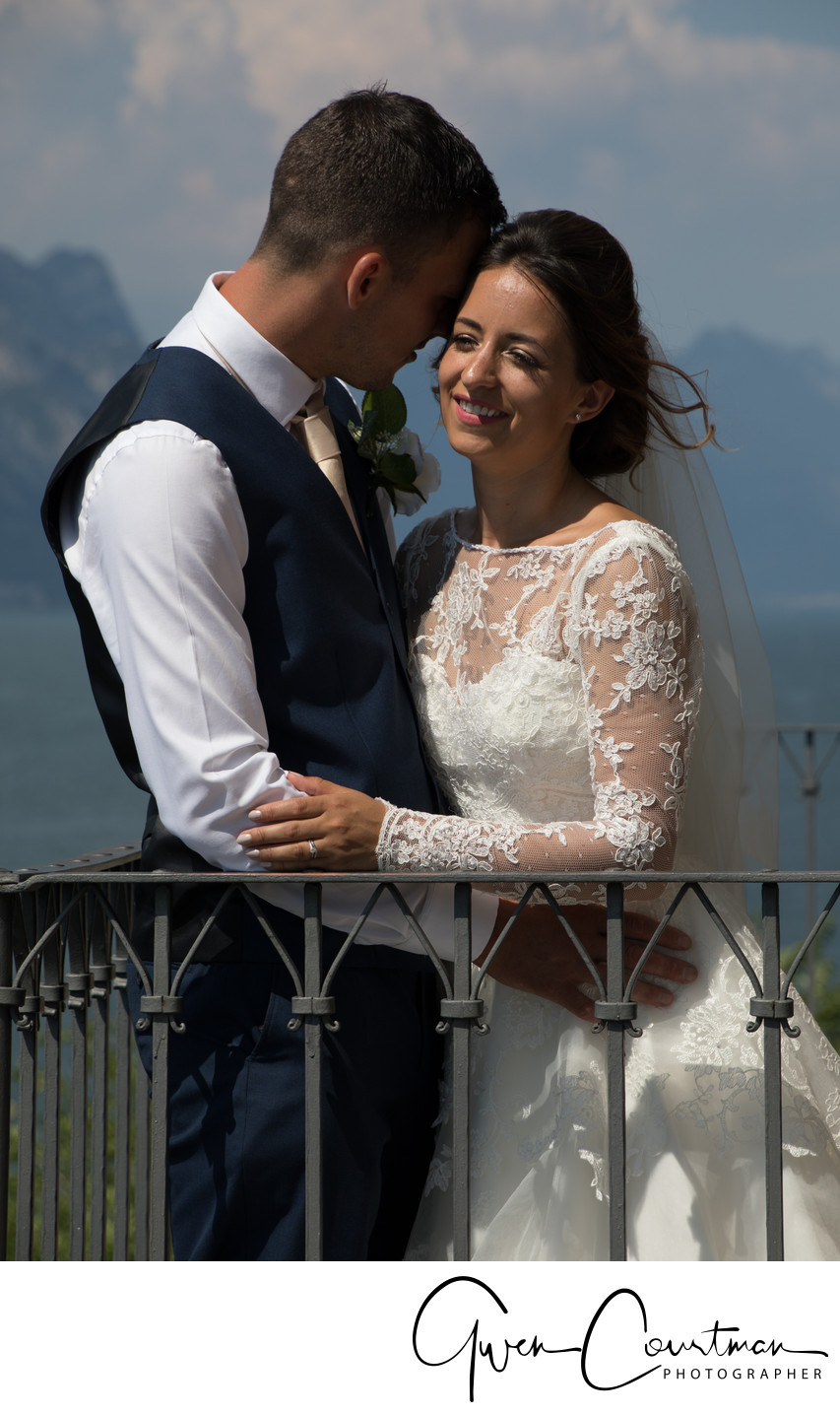 Wedding photo in Malcesine Castle Grounds.