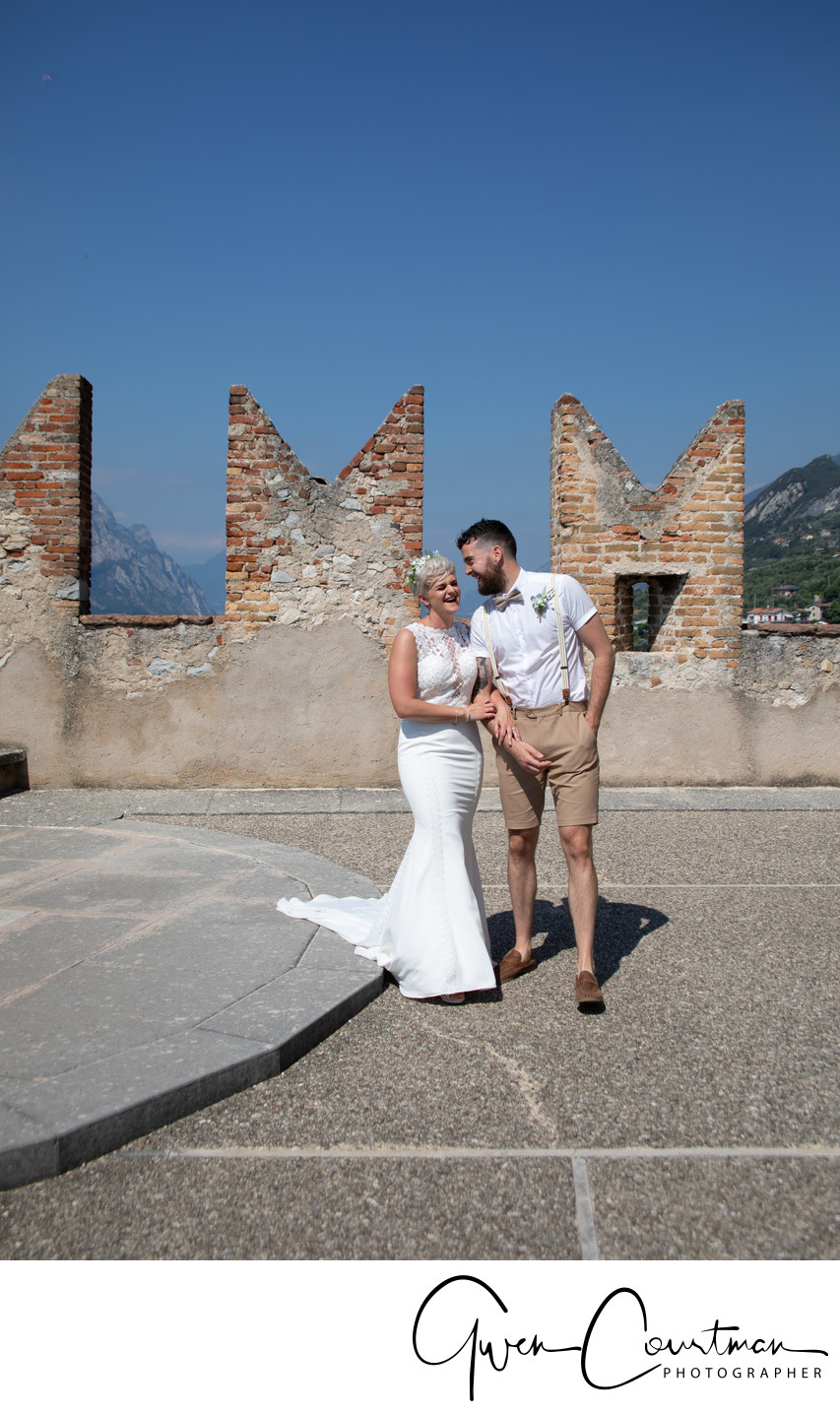 Emma and Tom, Malcesine Castle terrace, Italy