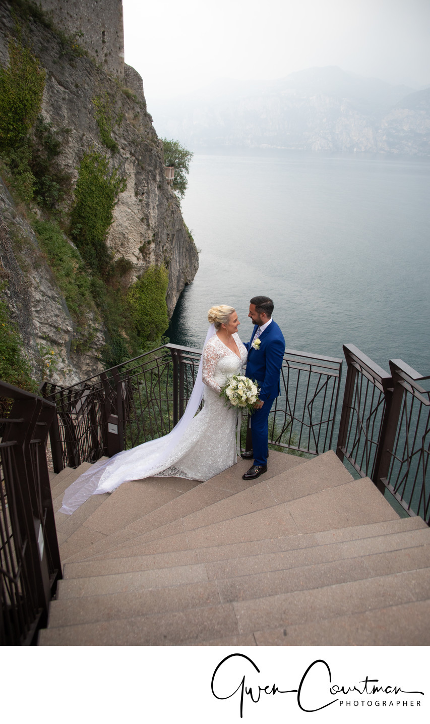 Leanne & Ricky, Malcesine Castle Theatre Steps.