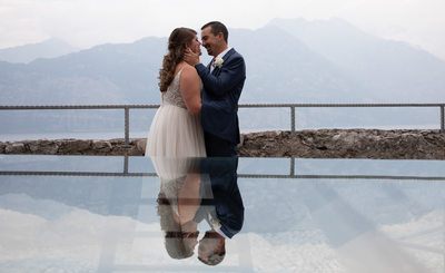 Kirsten and Justin, reflections, Malcesine, Lake Garda