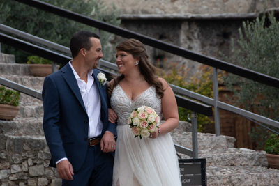 Justin and Kirsten, castle steps , Malcesine, Italy