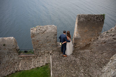 Justin and Kirsten, Lake Garda Views, Malcesine Castle
