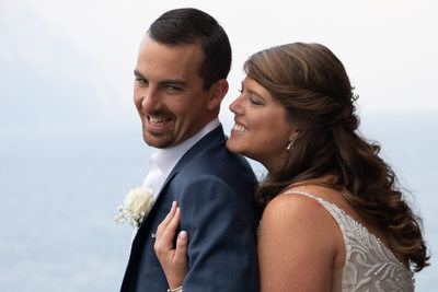 Kirsten and Justin, Lake Garda, Italy, castle balcony