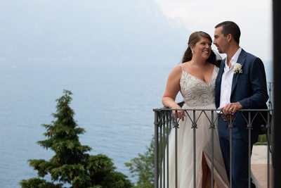 Kirsten and Justin, Balcony shots in Malcesine, Italy