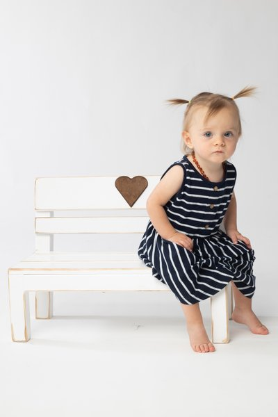 One year old on the bench, photoshoot
