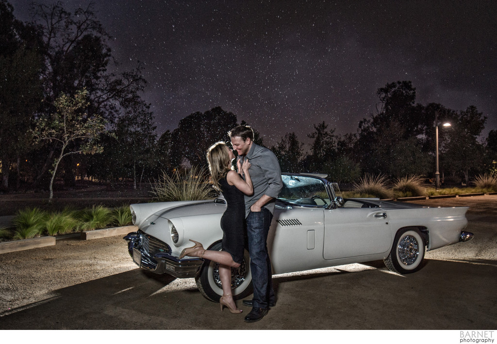 Orange County Vintage Car Engagement Photo
