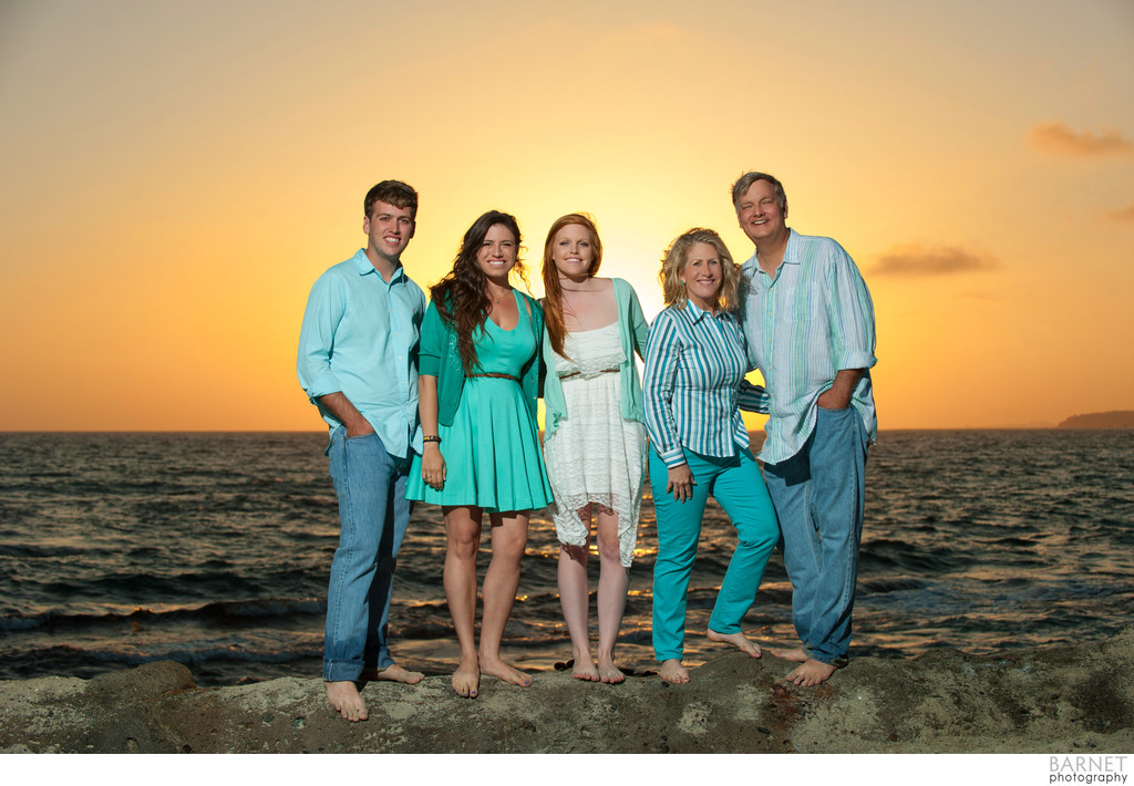 Beach Family Portrait at Sunset