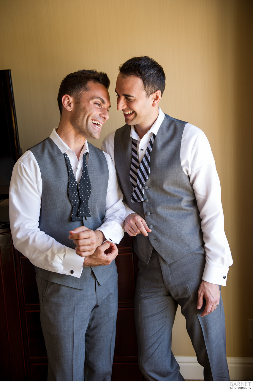 Gay Couple Getting Ready on Wedding Day