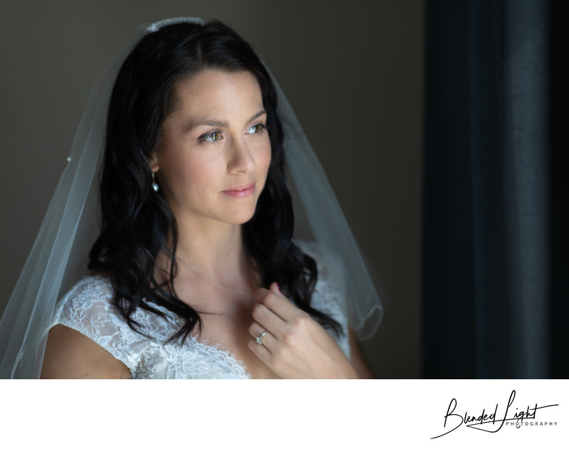 Bride anticipating her wedding ceremony