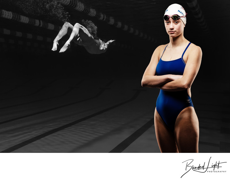 Composite Swimming Image of young swimmer