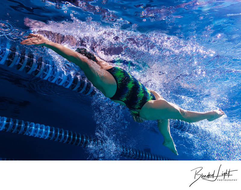 Low angle backstroke photograph from underwater