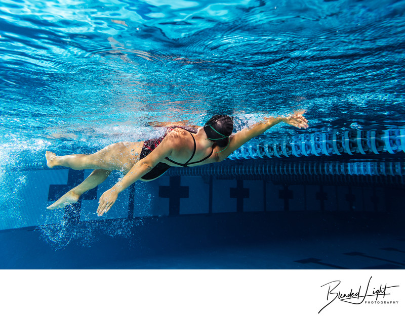 Underwater swimmer image backstroke