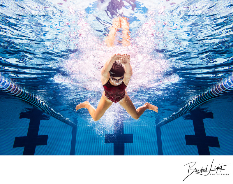 Straight on image of the butterfly stroke underwater