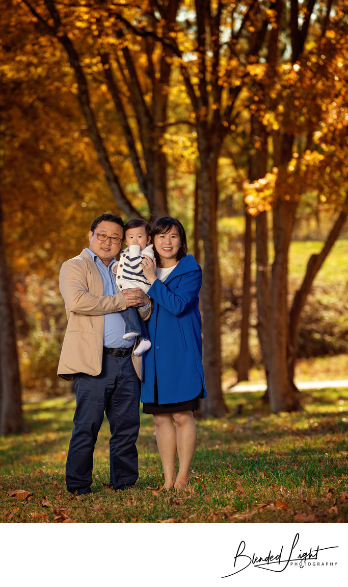 Fall background for family images at Museum of Art