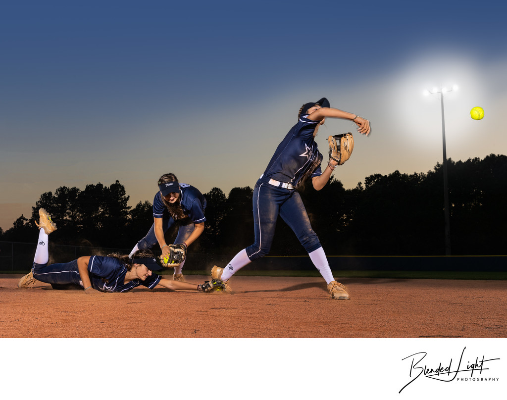 Composite of player fielding and throwing softball