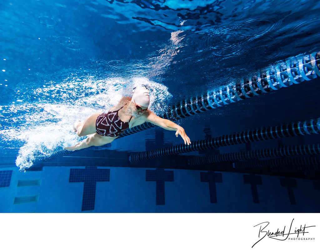 Indoor swimming photo underwater in Cary NC