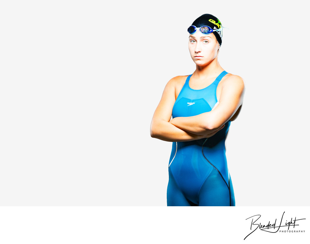 Tough High School Senior Swimmer on white backdrop